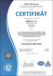 Certificate ISO 9001:2016